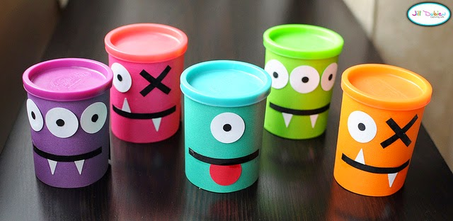 #PlayDohDay party ideas; monster cans