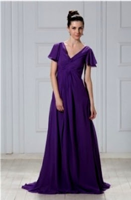 A Line V Neck Short Sleeves Floor Length Anderai's Dress