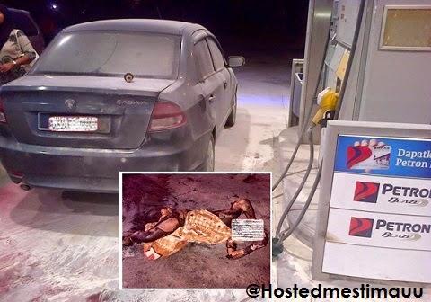 3 Gambar Lelaki baru keluar lokap bakar diri di stesen minyak