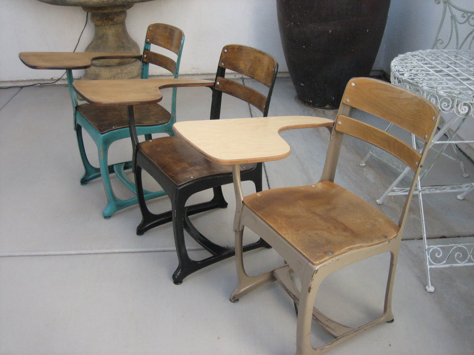 european paint finishes: vintage industrial desks -