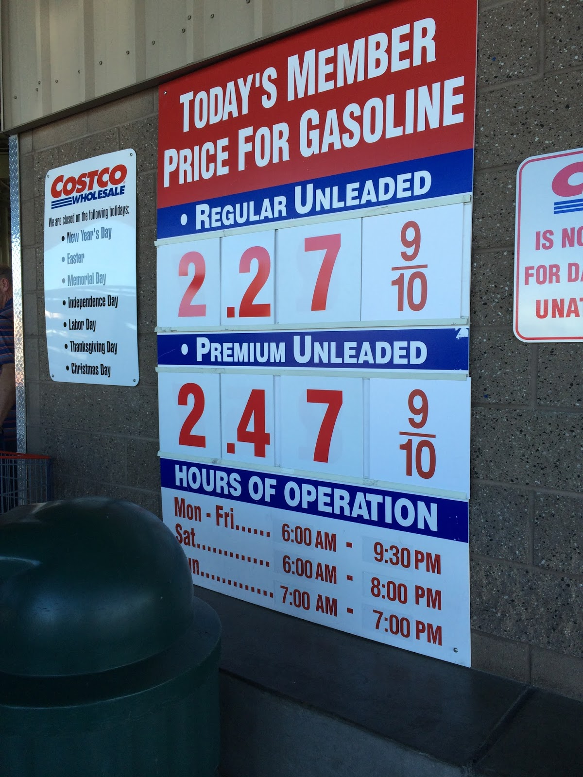 Current Costco Gas Prices Jan 31 2015 Redwood City