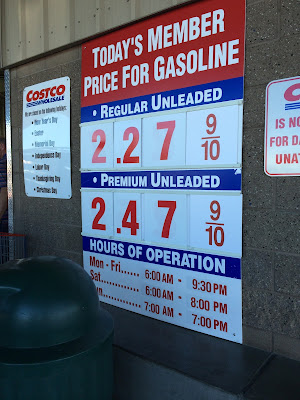 Costco gas for Jan. 31, 2015 at Redwood City, CA
