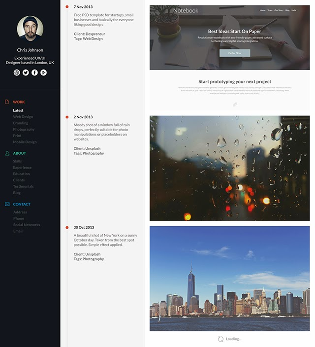 Design a Stylish Timeline Portfolio Page Using Photoshop