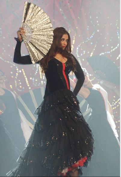 Former Miss World and Bollywood actress Aishwarya Rai Bachchan sizzles on a song from her film 'Guzaarish' at the Pond's Femina Miss India 2013 contest, held at Yash Raj Studios, in Mumbai, on March 24, 2013