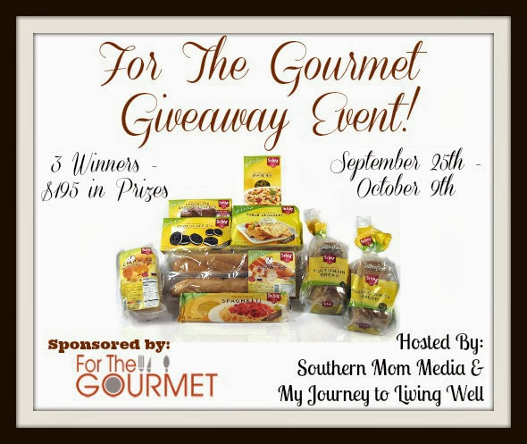 Enter the The Gourmet Gluten-Free Giveaway Event. Three winners. Ends 10/9.