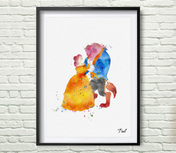 Beauty and the Beast Watercolor