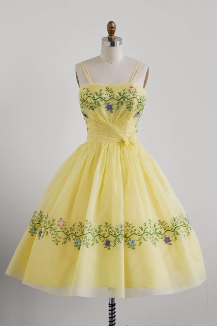 Yellow Organza Embroidered Dress
