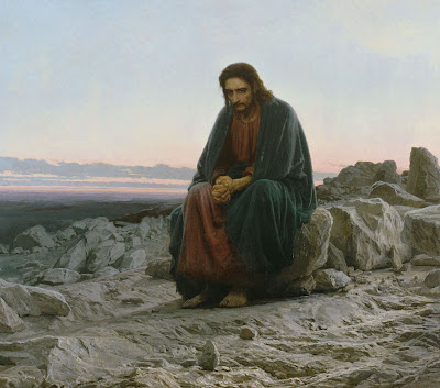 Jesus sitting alone