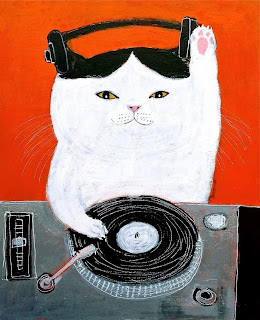 dj cat illustration by Pepe Shimada