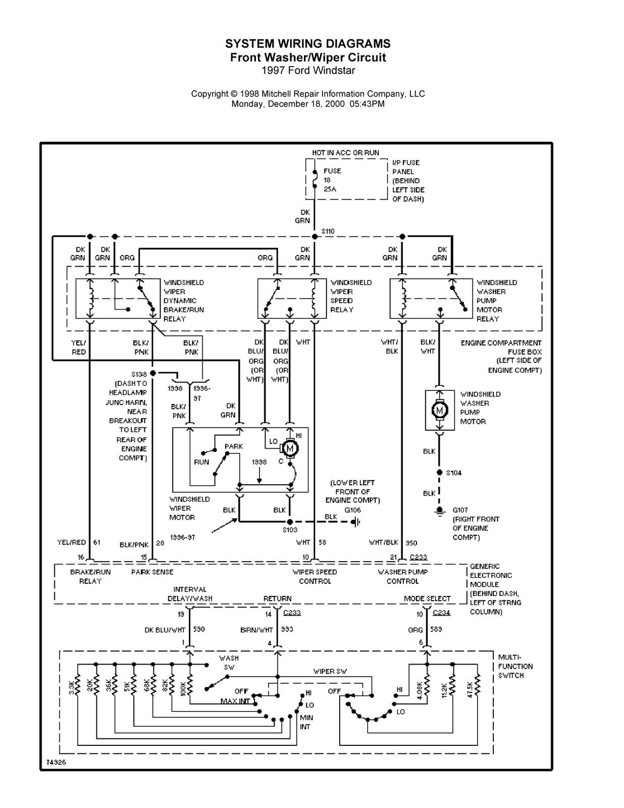 1997 ford windstar system wiring diagrams for front washer wiper circuit schematic wiring