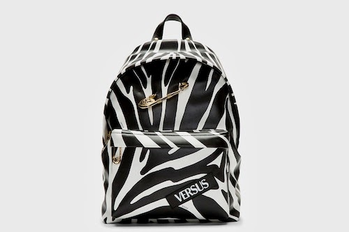 Versus BLACK ZEBRA PRINT SAFETY PIN JW ANDERSON EDITION BACKPACK