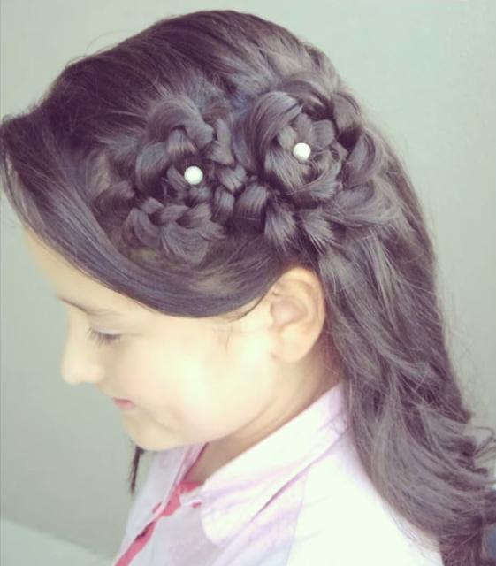 Peinado Semi Recogido Flores De Trenzas Peinados Para Ninas - Peinado-semirecogido-con-trenza