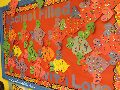 photo of: Valentine's Bulletin Board, school of fish bulletin board