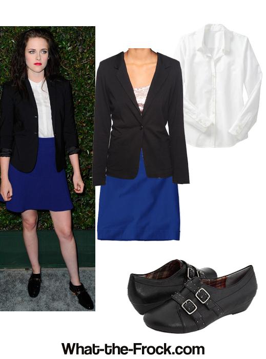 kristen stewart black blazer blue skirt