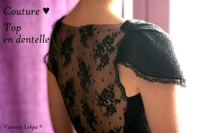 tuto couture patron couture haut en dentelle noir et maille tissu irisé pour fêtes