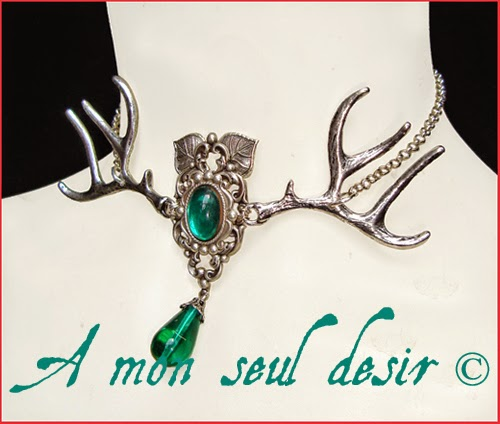 Collier Bois de Cerf Actéon Mythologie Baratheon Antler Deer Necklace Mythology