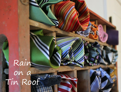 Men's tie storage in wall installed coke crates by Rain on a Tin Roof, featured on I Love That Junk - this is so cool!