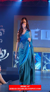 Neetu Chandra in blue transparent saree