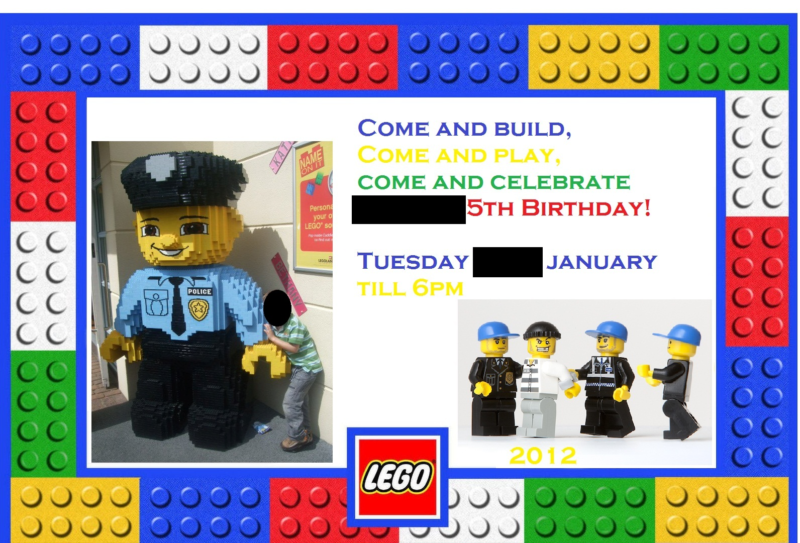 RahRahRache Lego Police party – Lego City Birthday Invitations