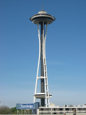 The Space Needle as seen from our hotel room window.