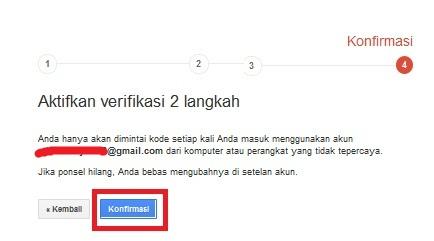 konfirmasi akhir penyiapan verifikasi 2 langkah untuk melindungi akun Google saudara