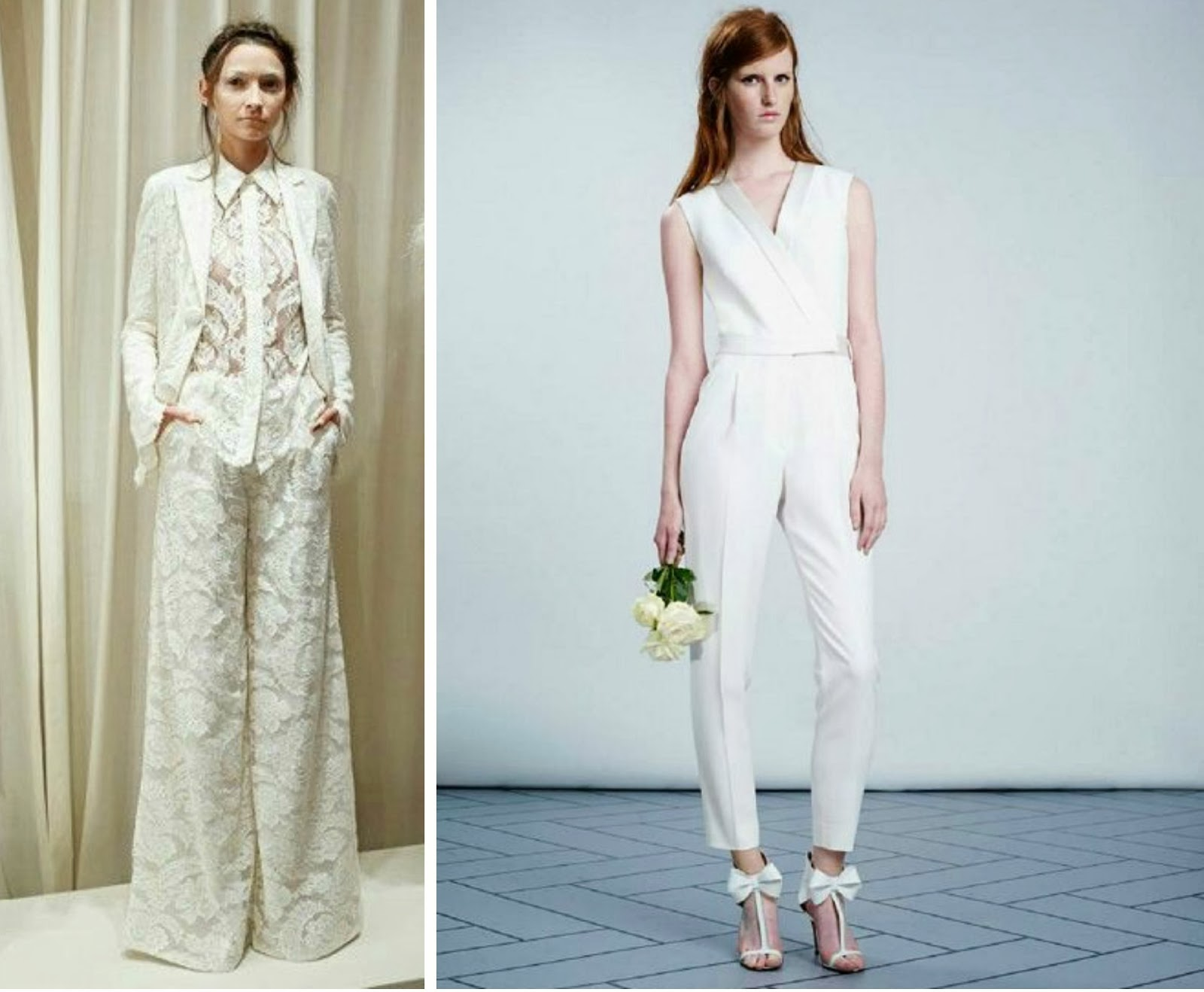 Famous White Wedding Pant Suits For Bride Images - All Wedding ...