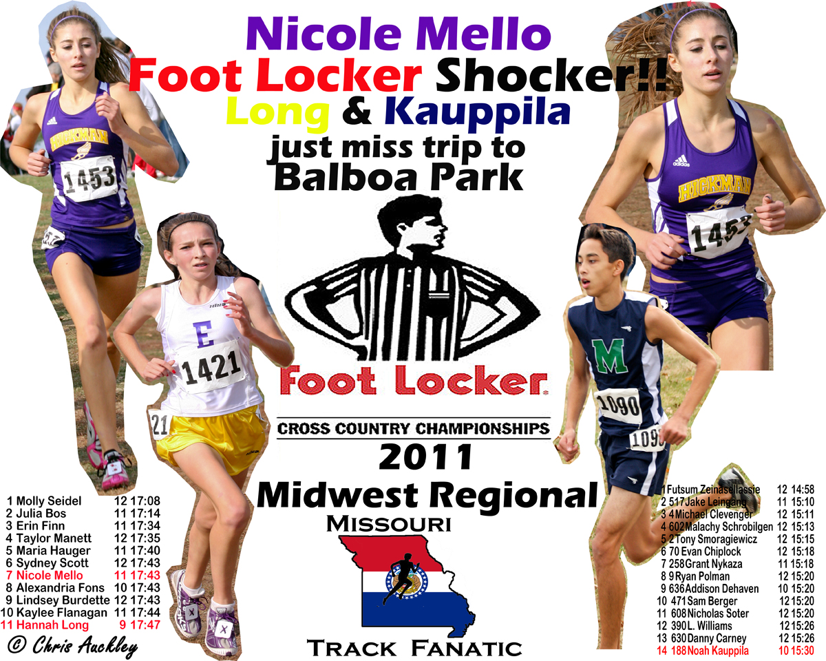 missouri track fanatic foot locker shocker mello qualifies hickman high school junior nicole mello had the best race of her career saturday placing seventh in the girls seeded race at the foot locker cross country