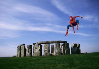 Spiderman Comic Super Heroe Flying Wallpapers in Classic Stonehenge background