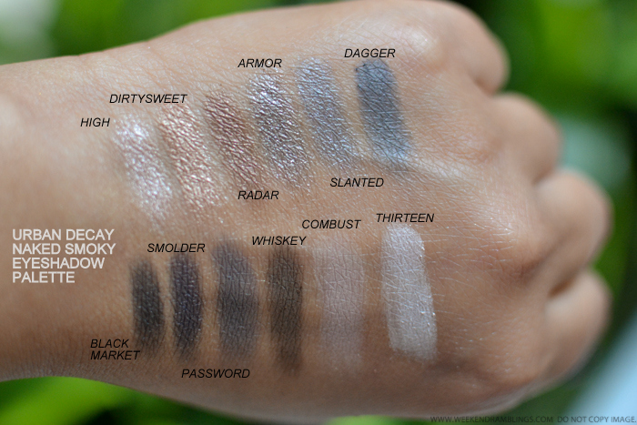 Urban Decay Naked Smoky Eyeshadow Palette Swatches - High Dirtysweet Radar Armor Slanted Dagger Black Market Smolder Password Whiskey Combust Thirteen