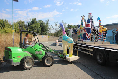 Nextra-terrestrial giraffe sculpture transported from Clacton Outlet to Colchester Zoo
