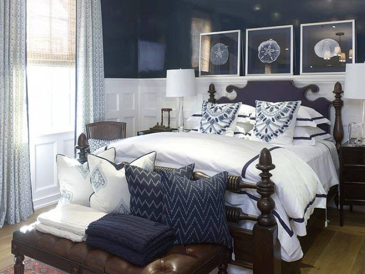 Navy Blue and White Master Bedroom