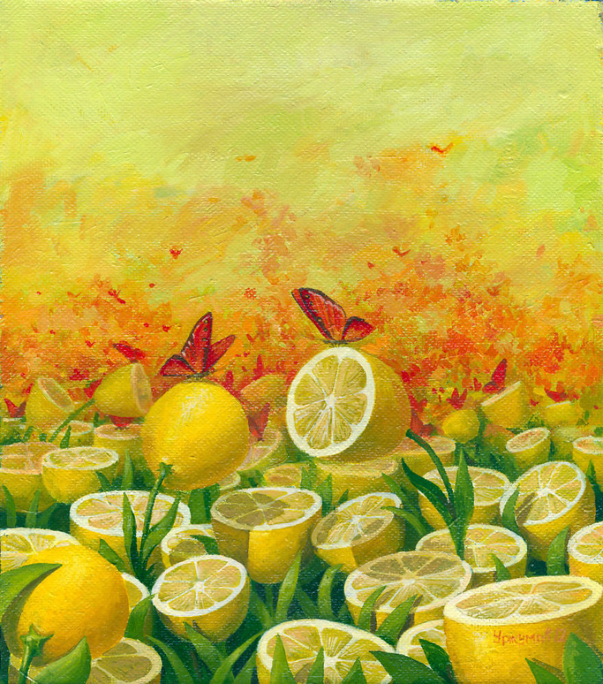 01-Lemon-Tea-Vitaly-Urzhumov-Surreal-Paintings-of-the-World-of-Lemons-and-More-www-designstack-co