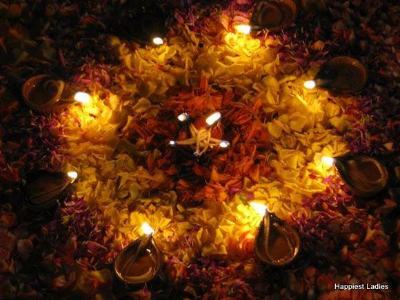 flower and diya diwali decoration