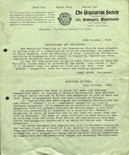 Circular from Vegetarian Society 1918