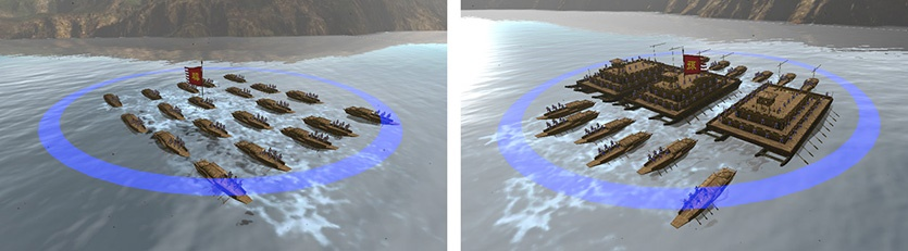 เรือเร็ว (Zou Ge) เดินทางรวดเร็ว โจมตีด้วยธนู , ส่วนเรือหอรบ (Louchuan) โจมตีระยะไกลได้อย่างรุนแรง
