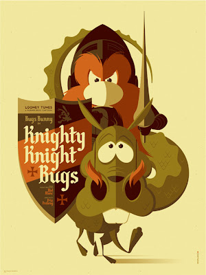 """Knighty Knight Bugs"" Looney Tunes Screen Print by Tom Whalen"
