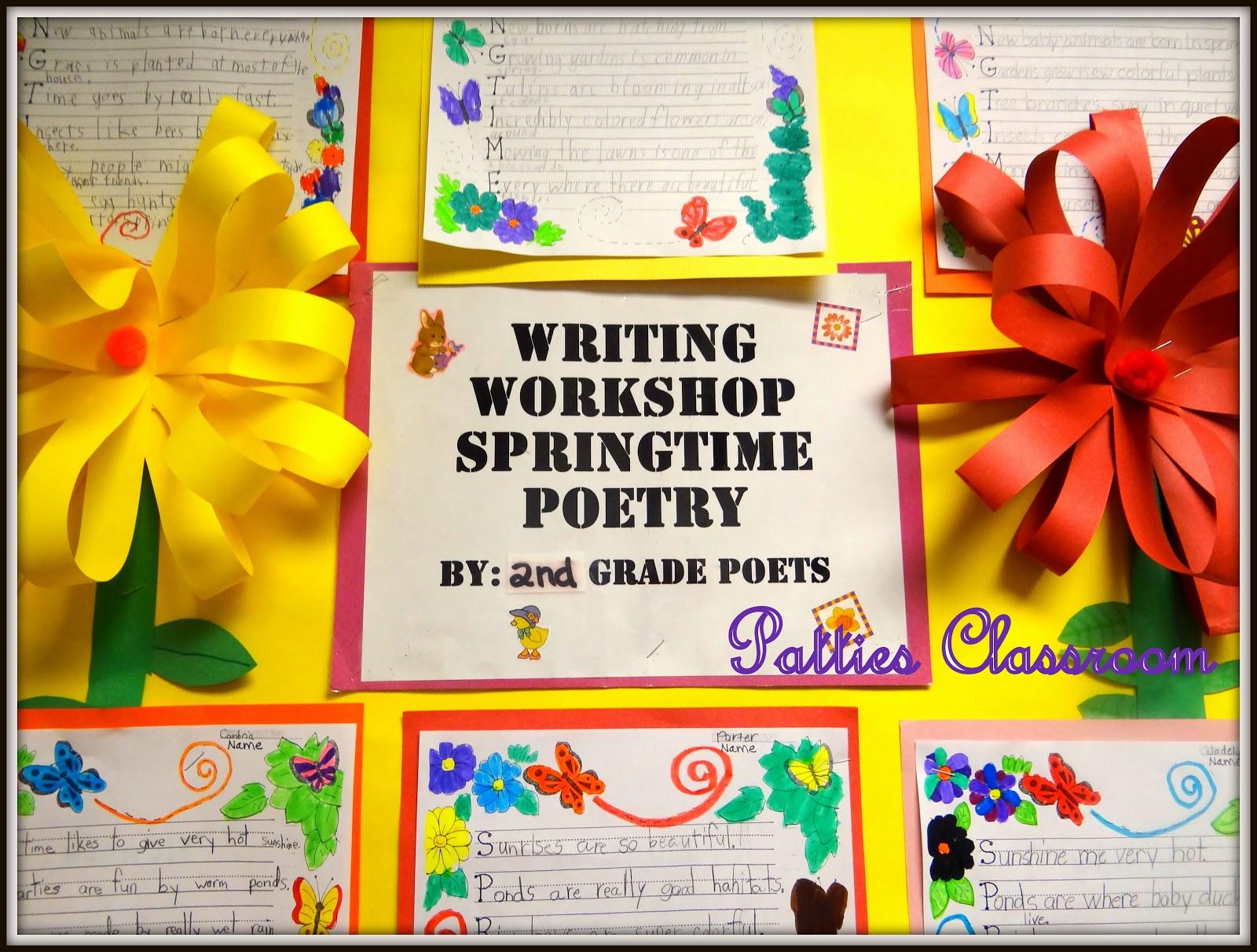 Patties Classroom Springtime Acrostic Poems And Pom Pom Flowers