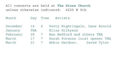 House Concert Calendar