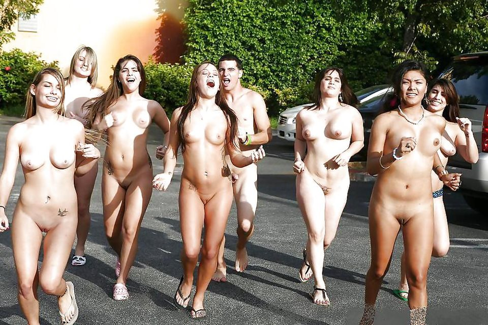 Girls running college naked