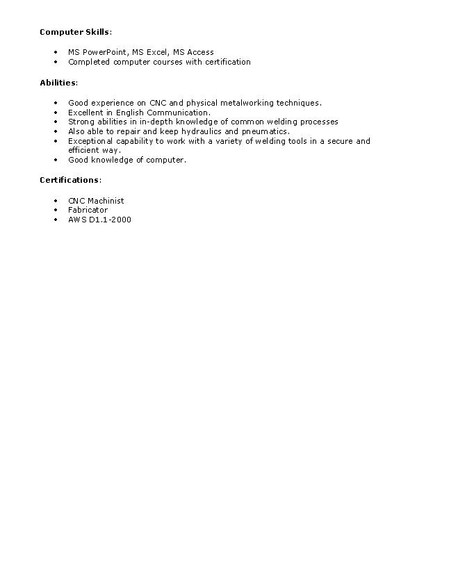 fresh jobs and free resume samples for jobs resume format for welder - Free Sample Welder Resume