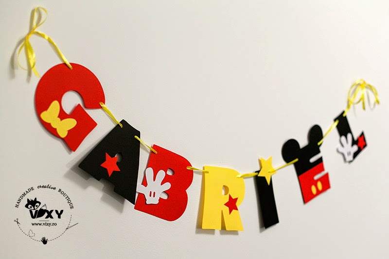Mickey Mouse, ghirlanda personalizata, ghirlanda nume bebelus, ghirlanda personalizata handmade, petrecere tema Mickey, Mickey Mouse botez