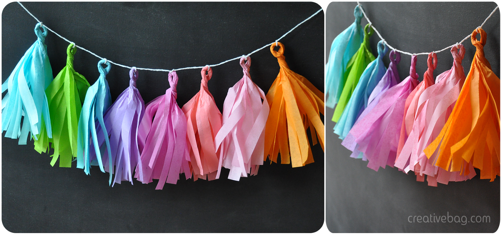 diy tissue paper tassel garland colour inspiration | by Lorrie Everitt for CreativeBag.com