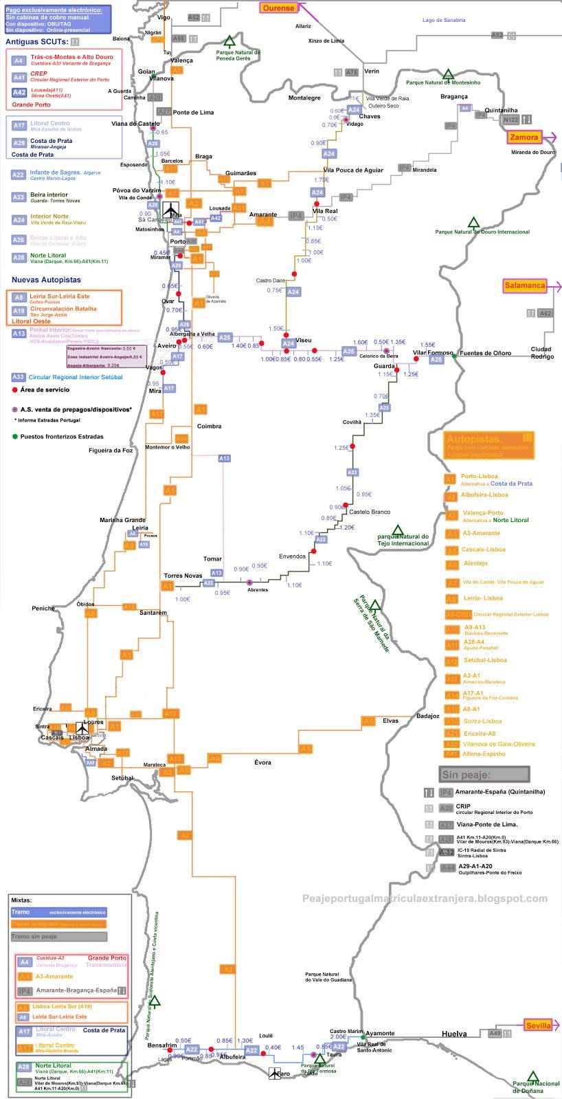Nuevos peajes en Portugal exSCUTs Mapas comparativas y pago