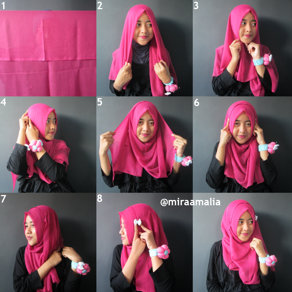 Mira Amalia Tutorial Hijab 17 Segiempat Goes To Campus