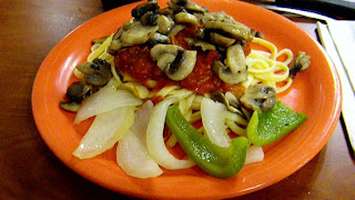 Italian: Linguini with marinara sauce, mushrooms and sauteed peppers and onions.