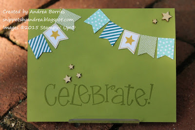 Birthday card made with Banner Blast stamp set and coordinating punch.
