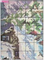 Вышивка бисером зимний пейзаж. Схема