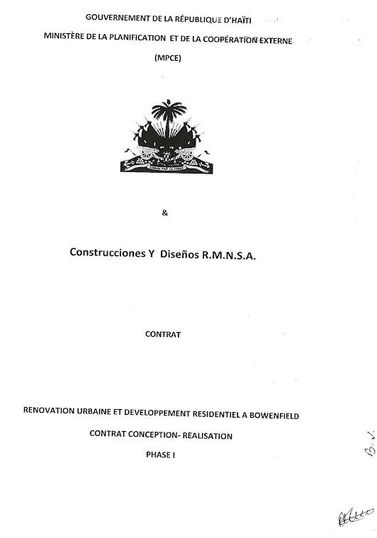 Contrat entre Jean-Max Bellerive et des Compagnies Dominicaines, un Crime de Haute Trahison.