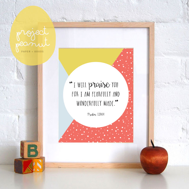 "Printable Scripture Wall Art [Psalm 139:14] ""I will praise You for I am fearfully and wonderfully made""  