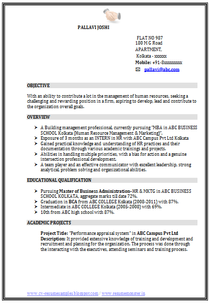 Resume Samples Finance Mba mba finance fresher resume template 2 – Resume Format for Mba Finance